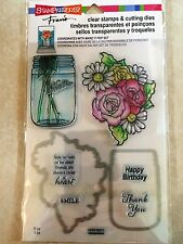 Stampendous Clear Stamp & Die Cut Set Mason Jar & Flowers Stampendous CSD04 NEW
