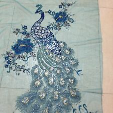 Sequin/FLORAL EMBROIDERY BEADS LACE FABRIC/0.65yard*1.31yard/tuquise/peacock