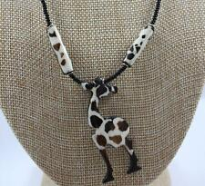 Black Seed Bead Necklace with Brown Giraffe Pendant 18in