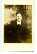 Studio Portrait of Man-High Collar Shirt-RPPC-Vintage Real Photo Postcard