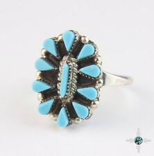Beautiful Blue Turquoise Cluster Sterling Silver Ring authentic Navajo sz 6.5