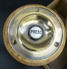 "Traditional Polished Brass Door Bell Push with Ceramic Button - 4"" diameter"