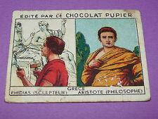 CHROMO CHOCOLAT PUPIER EUROPE 1932 GRECE SCULPTEUR  PHIDIAS PHILIOSOPHE ARISTOTE