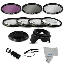 58mm UV/CPL/FLD Filter SET + Close Up Macro Kit+HOOD+CAP FOR CANON EOS REBEL
