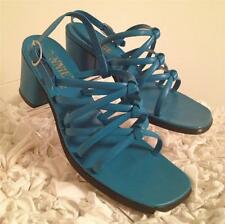 Vintage Connie Turquoise Blue Leather Sandal Shoe - Size 6M Made in Italy