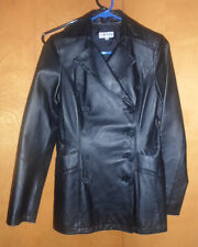 pre-owned womens black leather jacket by Morgan De Toi size 36