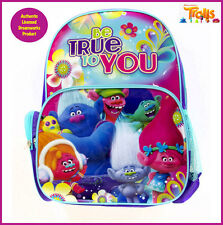 Dreamworks Trolls Licensed Backpack Library School Dance Bag Glossy Kids 36 cm