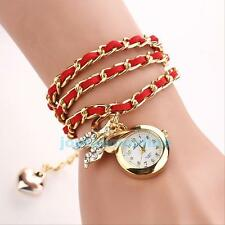 GIFT~ Fashion Around Leather Bracelet Watch Women Quartz Wrist Watch Weave Chain