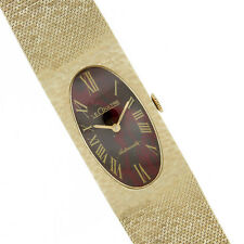 LeCoultre 14k Solid Yellow Gold Watch Mesh Bracelet 1960's Mad Men Style