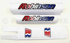 NEW Robinson old school BMX padset pads 1990-95 logos - MADE IN USA - WHITE