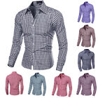 Men Plaids Check Shirt Casual Shirt Slim Fit Solid Long Sleeve Dress Shirts