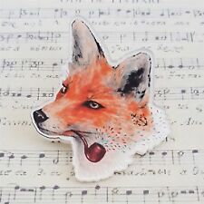 qUiRkY KiTsCh PRINTED ACRYLIC SMOKING MR FOX WITH PIPE BROOCH BADGE PIN 50mm