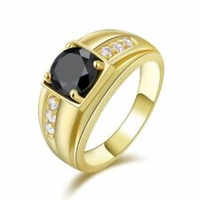 Band Size 11 Round Cut Black Sapphire 18K Gold Filled Women's Men's Wedding Ring