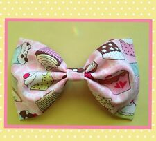 "♥HANDMADE 7.5"" PINK CUPCAKES COTTON FABRIC HAIR BOW KAWAII COSPLAY LOLITA CUTE"