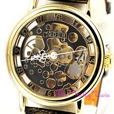Mechanical Skeleton Heritage Steampunk Gold & Black Leather Wind-Up Unisex Watch