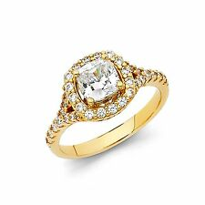 14K Solid YellowGold Antique Style Princess Cut Man Made Diamond Engagement Ring