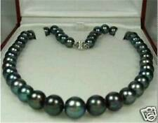 "Charming! 8-9mm Tahitian Black Natural Pearl Necklace 18"" AA"