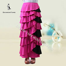 SHARON TANG Modest Apparel Long Pink & Black Stretch Ruffle Layer Maxi Skirt L