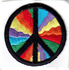 "PEACE SIGN, MULTICOLORED (2"" ROUND) - IRON ON OR STICK ON PATCH  - LOVE"