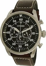 Citizen Men's CA4210-24E Silver Leather Eco-Drive Dress Watch