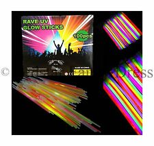 "100 x 8"" NEON GLOW STICKS WITH 100 CONNECTORS RAVE NIGHT GLOW PARTY UV BRACELETS"