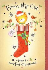 """CUTE """"FROM THE CAT"""" CHRISTMAS CARD... HAVE A PURRFECT CHRISTMAS!  (WITH ROBINS)"""