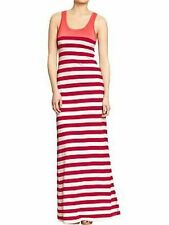NEW OLD NAVY RED PATTERNED STRIPED MAXI TANK DRESS SZ S SMALL