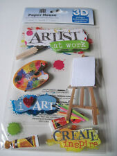 Scrapbooking Crafts Paper House 3D Stickers Artist At Work Easel Paints Palette