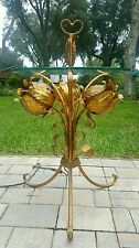 Vintage HOLLYWOOD REGENCY  METAL TOLE  GILT FLOWER LIGHTED GLASS TOP TABLE STAND