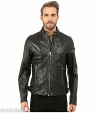MENS DIESEL LEATHER JACKET BLUE BLACK SIZE LARGE NAME REED BUY NOW £269.99