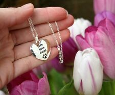 .925 Sterling Silver NECKLACE Live Love Adopt Charm Pendant Paw Print Pet Rescue