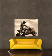 POSTER PRINT PHOTO SPORT MOTOCROSS QUAD BIKE JUMP ENGINE BLACK WHITE SEB303