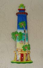 "OUTDOOR COLORFUL 18"" HAITIAN LIGHTHOUSE BEACH SCENE HANGING WALL ART DECOR"