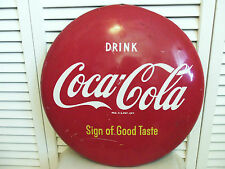 "Coca Cola 16"" Button Sign 1940s Metal Not Porcelain Coke Vintage Original Rare"