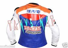 DANI PEDROSA MOTORBIKE MOTORCYCLE HONDA REPSOL BLUE ONE HEART LEATHER JACKET