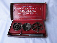 Vintage Wagner Mfg. Co Cast Iron Swedish Cake and Patty Moulds