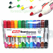 x12 Munhwa Dry-Erase White Board Marker Pen, Round nip - 12 Colors Set