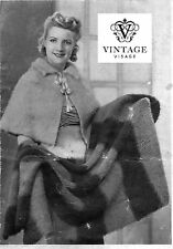 Vintage Knitting Pattern-How to make a 1930s era stylish cape and motoring rug