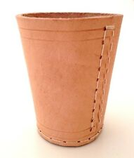 NEW HAND MADE NATURAL REAL LEATHER DICE CUP SHAKER POT - UK SELLER -FAST POSTAGE
