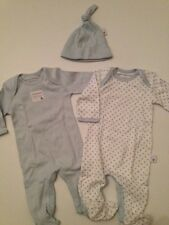 Burts Bees Organic Cotton Baby Boy 2 Coveralls Hat Set Size PREEMIE Layette Blue