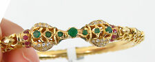 NYJEWEL 22k Solid Gold New India Style Green Red Topaz Bangle Bracelet $7200