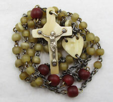 † ANTIQUE IRISH MONK MADE IRISH RED DYED & NATURAL CATTLE HORN IRELAND ROSARY †