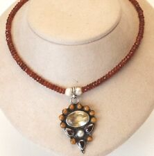 JEWELED BEAD Necklace_Hand-Cut Hessonite Garnets_Silver Citrine Garnet Pendant