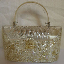 VINTAGE CARVED TOP EMBEDDED GLITTER LUCITE PURSE