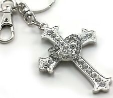 Clear Vintage Antique Style Christian Cross Gift Heart Keychain Key Ring Charm