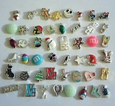 Christmas Halloween Easter Floating Charms for Locket Crystals Pearls 100 pc