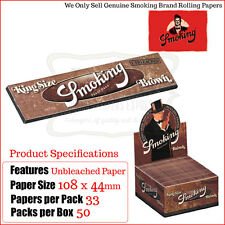 Smoking Brown Unbleached Kingsize Slim Rolling Papers - One Full Box 50 Packets