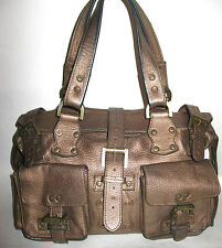 $850 MULBERRY ROXANNE BRONZE LEATHER BUCKLE POCKETS BROWN HANDBAG BAG