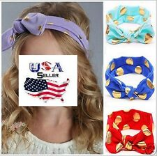 Lot of 12 Top Knot Headbands Turban Headwraps Baby Toddler Girls Gold Dot