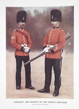 OLD ANTIQUE PRINT DUBLIN FUSILIERS SERGEANT & PRIVATE c1900 MILITARY BOER WAR